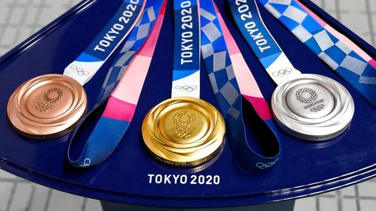 Olympic medals on a table