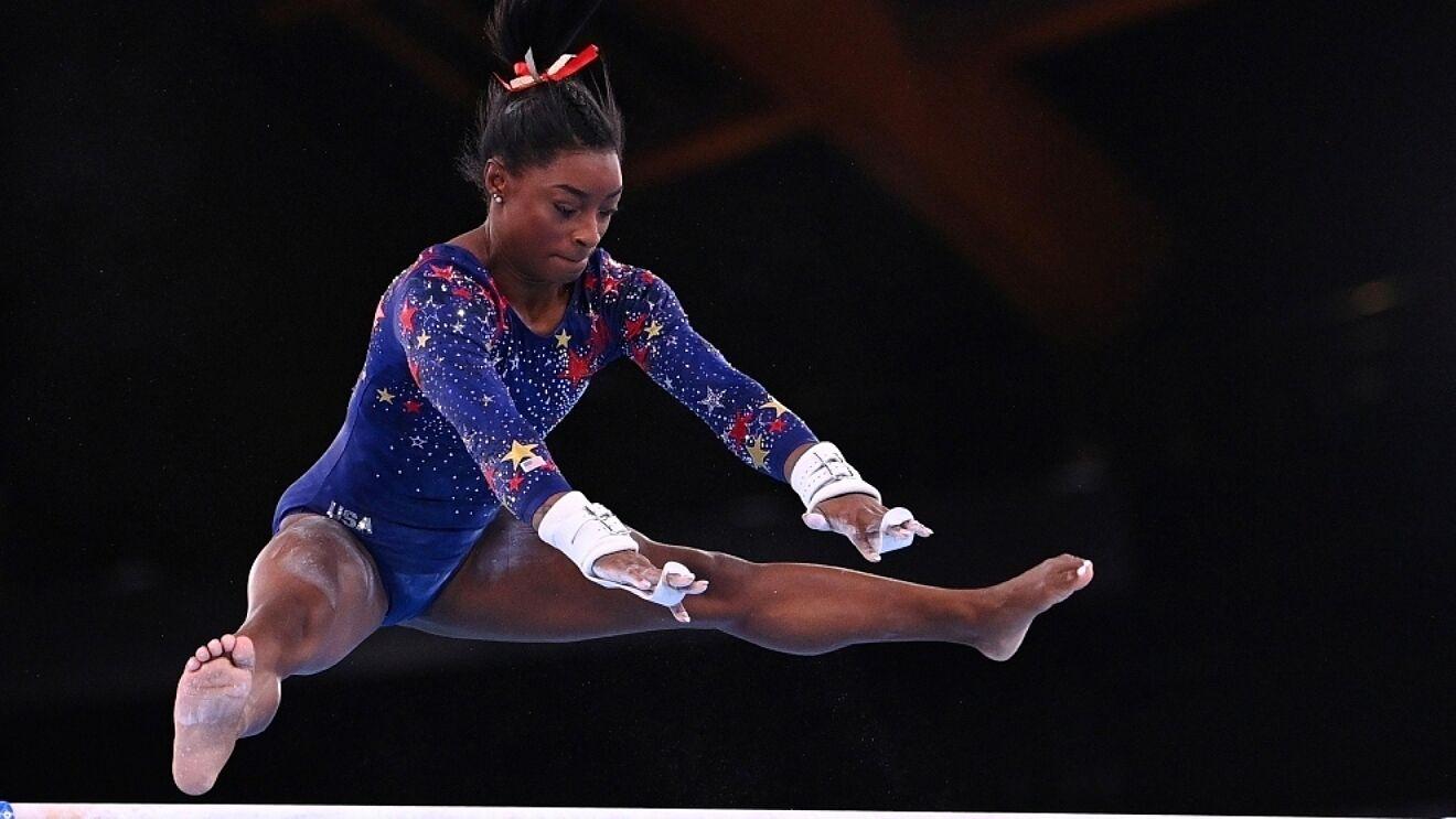 Simone Biles in mid-air
