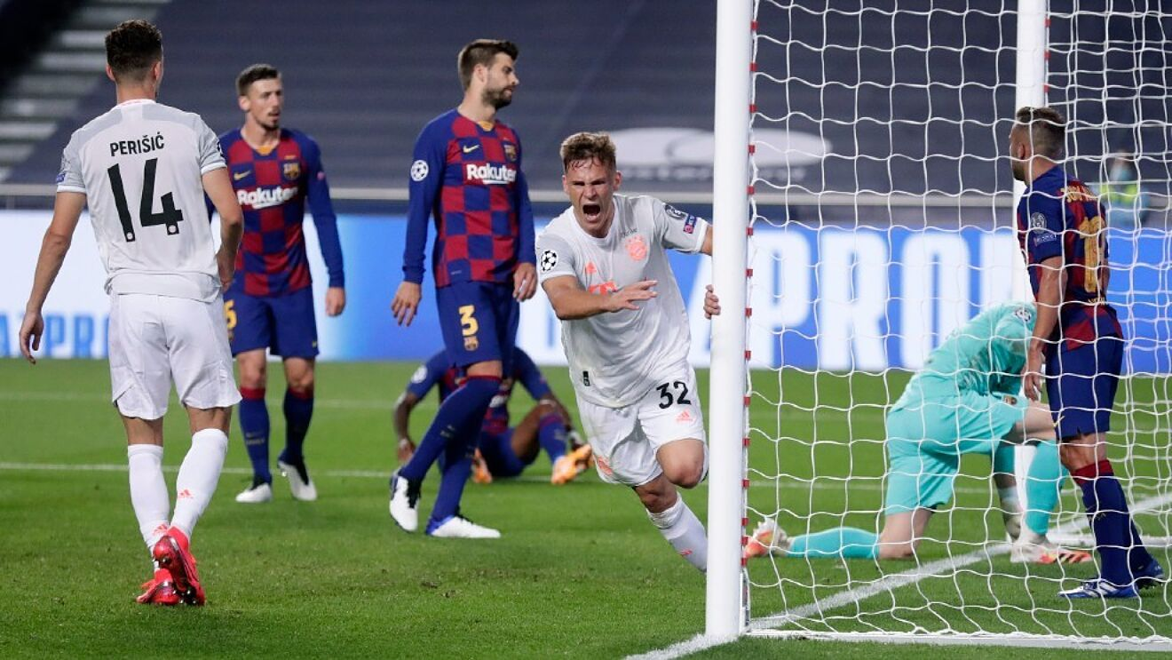 Kimmich celebrates in the famous 8-2 meeting between the sides in...
