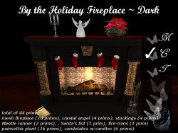 by the holiday fireplace-dark