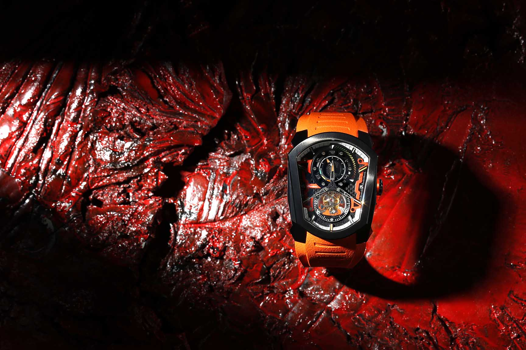 racer speedforce mechanical watch white automatic watch phantoms tourbillon orange strap