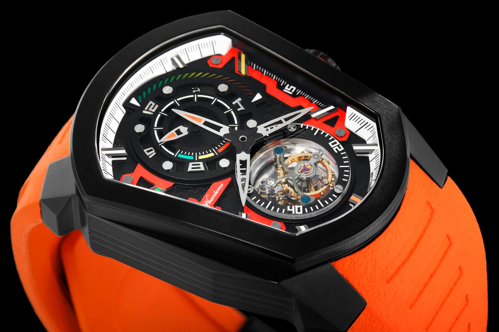 racer speedforce mechanical watch white automatic watch phantoms tourbillon orange strap