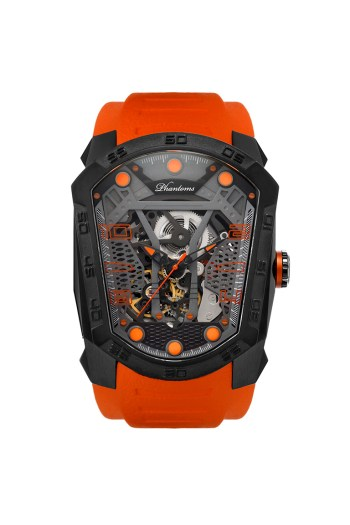 Haunted Blade mechanical watch white automatic watch phantoms tourbillon orange strap