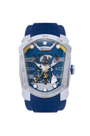Skyline Blade mechanical watch white automatic watch phantoms tourbillon Blue strap