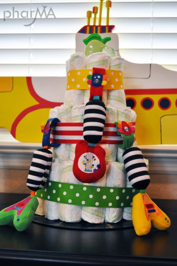 Beatles Baby Shower Diaper Cake