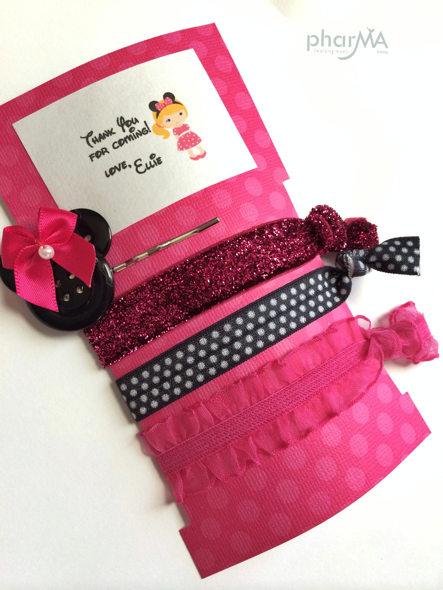 Minnie Mouse Party Favors Pink and Black, DIY Hair Accessories