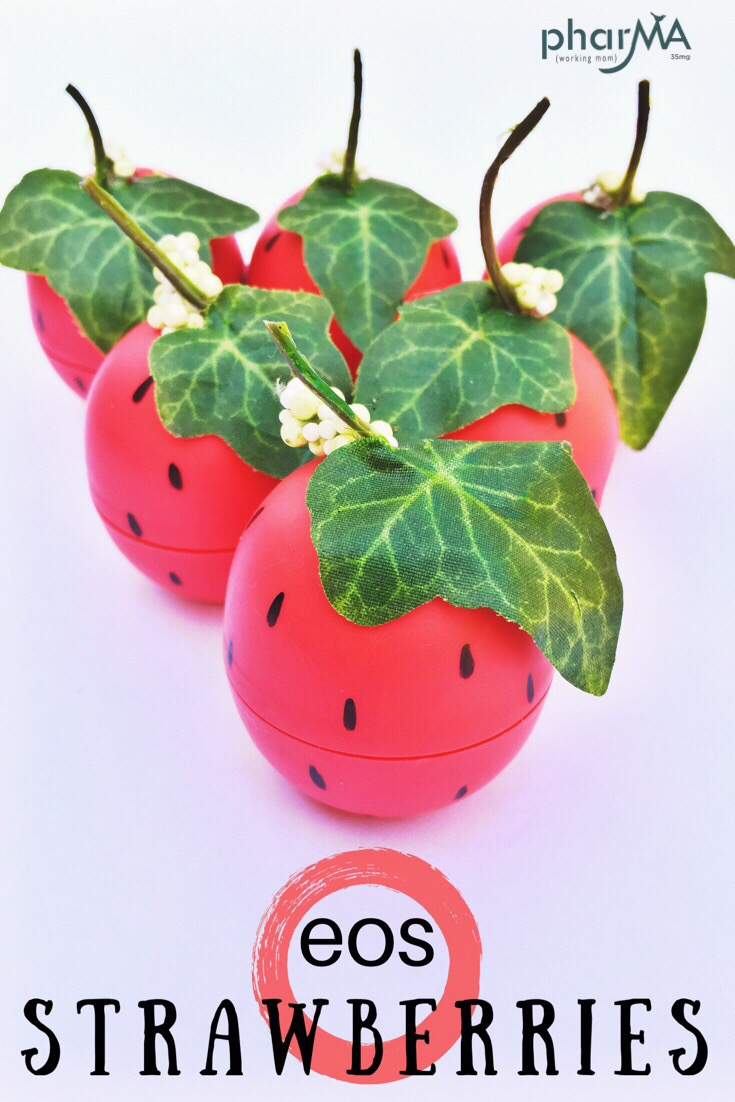 how to make eos strawberries, eos craft, lip balm gift