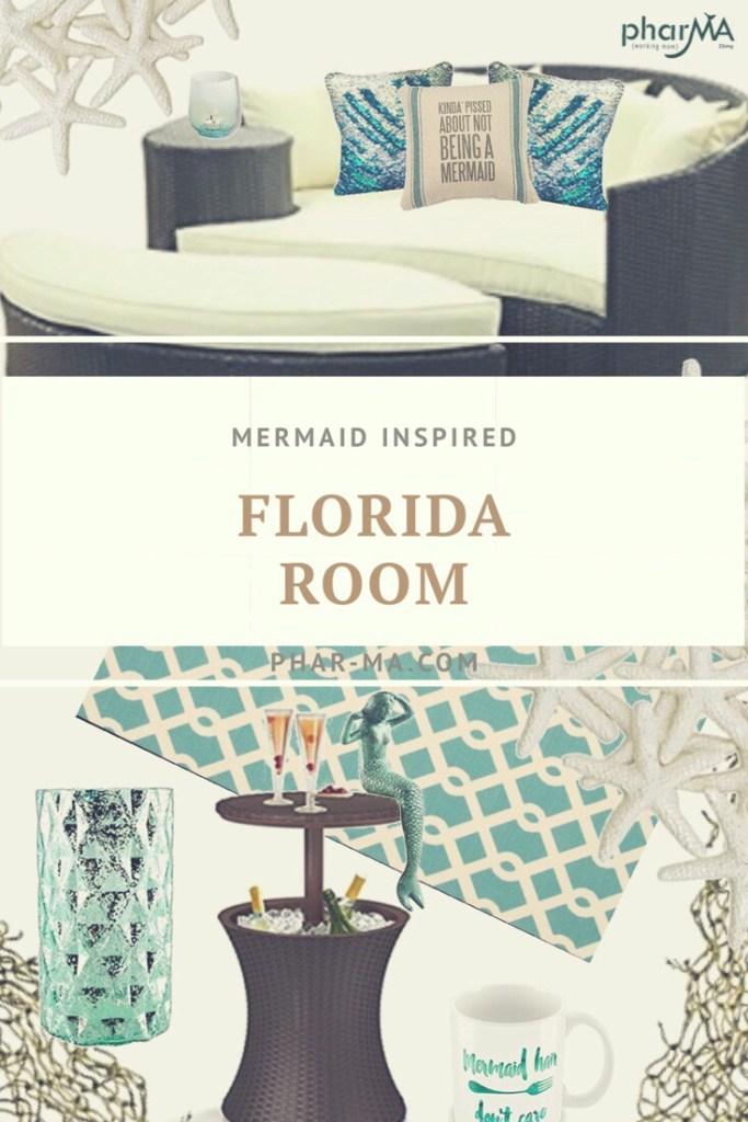 Mermaid decor, patio design, beach living, outdoor space, back porch