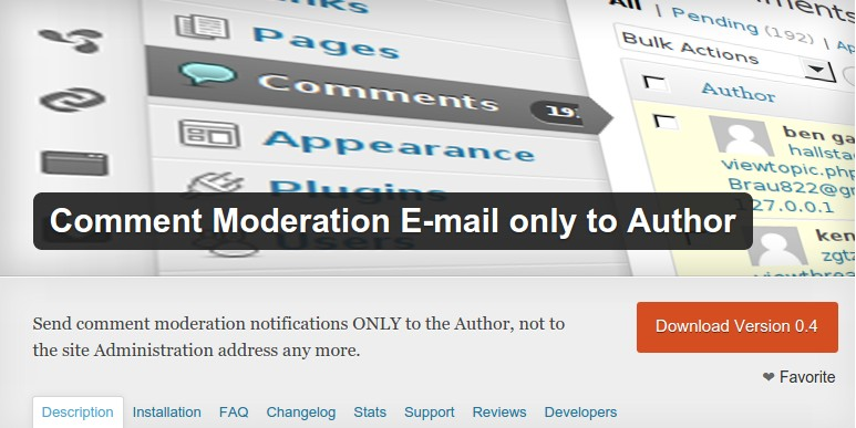 Comment Moderation E-mail only to Author