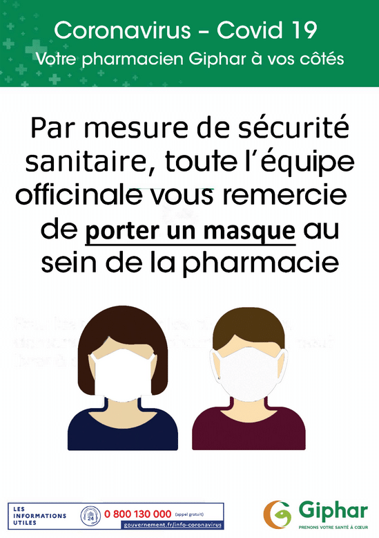 coronavirus, le port du masque - pharmacie charlet