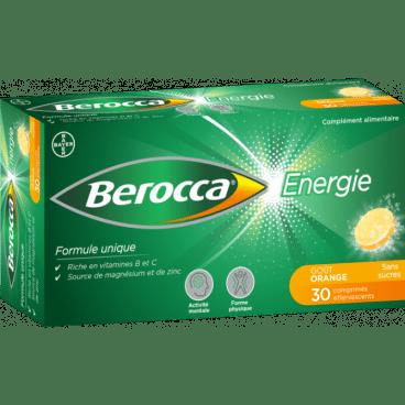 berocca energie, gout orange, boite de 30 comprimes effervescents