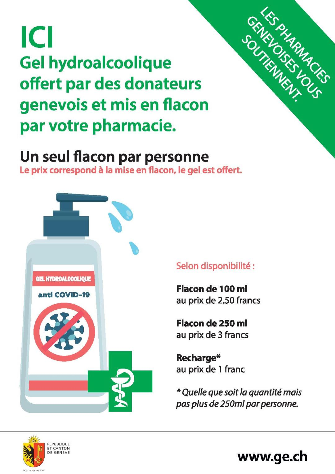 distribution gel hydroalcoolique à la pharmacie