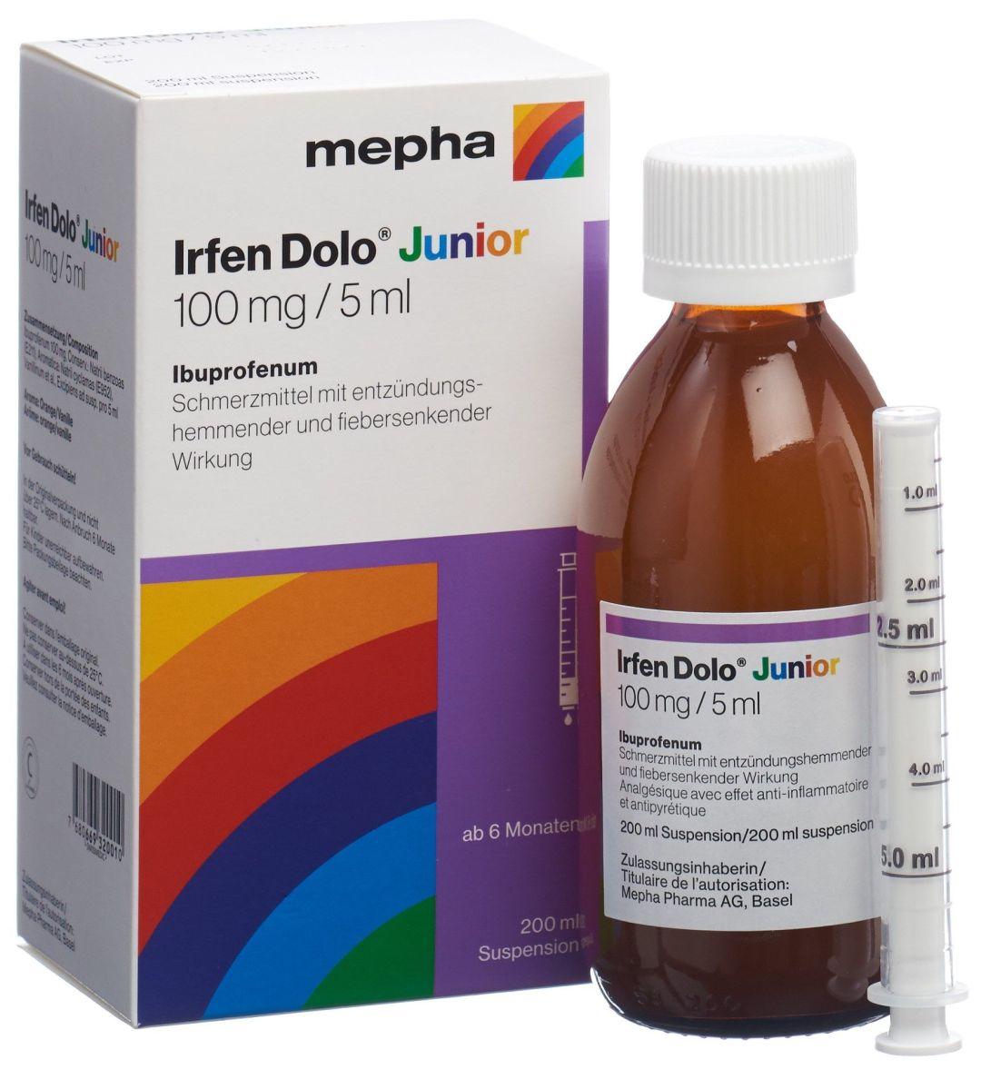bouteille du médicament Irfen Dolo Junior mepha