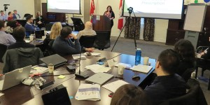 Melissa shares her story with participants of Phase 1 of Ontario's medication safety program at the OCP office in mid January.