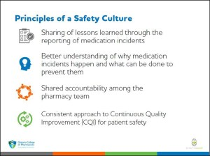 A sample slide from the AIMS Program e-training module explaining the significance of a just culture, one of the program's foundational principles.