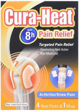 Cura-Heat Knee Pain 4 Patches +1 Wrap
