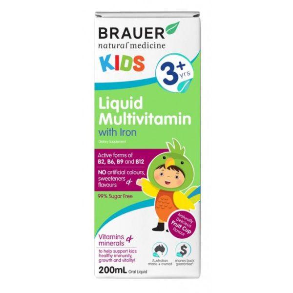 Brauer Natural Medicine Kids Liquid Multivitamin with Iron 200ml