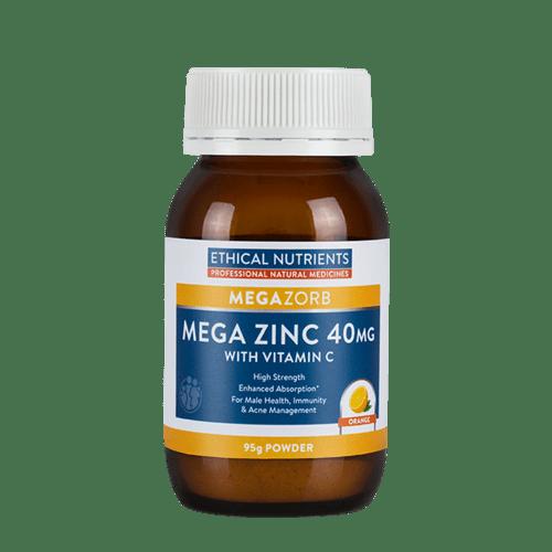 Ethical Nutrients Megazorb Mega Zinc 40mg Powder with Vitamin C 95g (Orange Flavour) 3