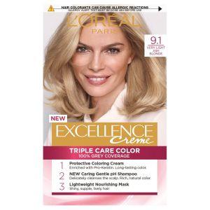 L'Oreal Excellence Permanent Hair Colour-9.1 Light Ash Blonde