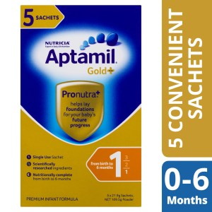 Aptamil Gold+ 1 Baby Infant Formula Powder Sachets From Birth to 6 Months 5 Pack 21.9g