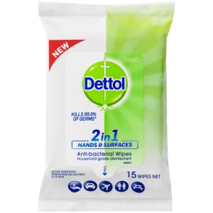 Dettol  Antibacterial 2 in 1 Hands and Surface Wipes 15pk