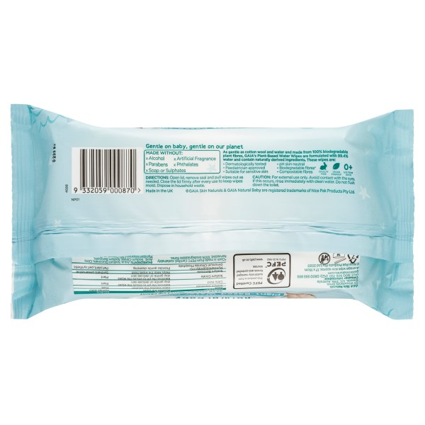 GAIA Natural Baby Plant-Based Water Wipes 80 Pack