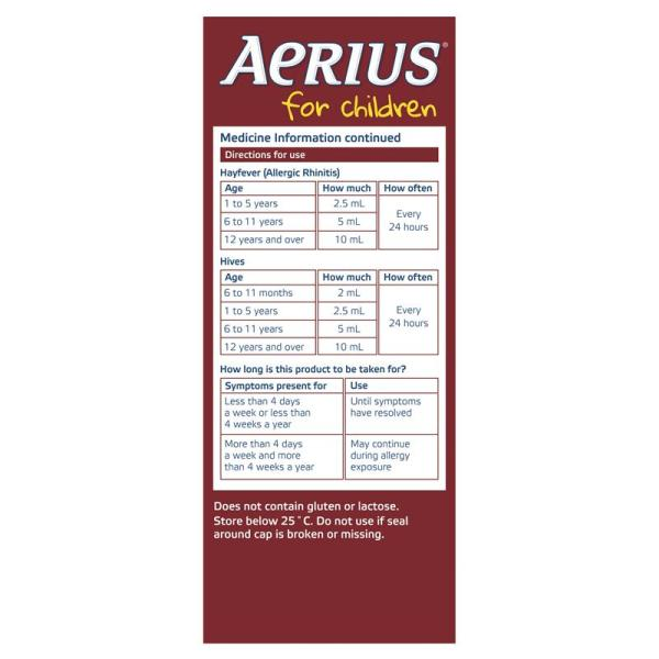Aerius Allergy Relief Syrup 100mL 6