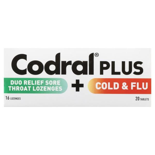Codral Plus Sore Throat Lozenges & Cold and Flu 20 Tablets 7