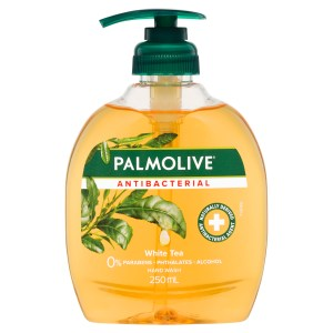 Palmolive Antibacterial Liquid Hand Wash Soap White Tea Pump 0% Parabens Recyclable 250mL