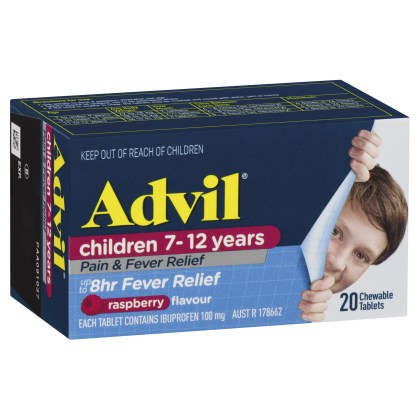 Advil Pain & Fever Chewable 7-12 Years 20 Tablets