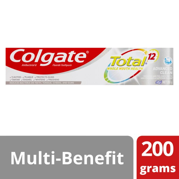 Colgate Total Advanced Clean Antibacterial Fluoride Toothpaste 200g 3