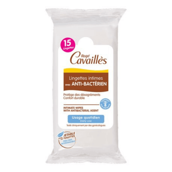 Roge Cavailles Intimate Wipes with Antibacterial 15 Wipes