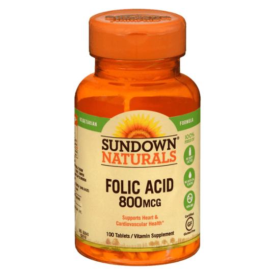 Sundown Naturals Folic Acid 800MCG 100 Tablets