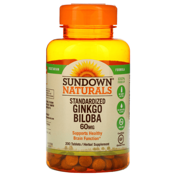 Sundown Naturals Standardized Ginkgo Biloba 60mg 200 Tablets