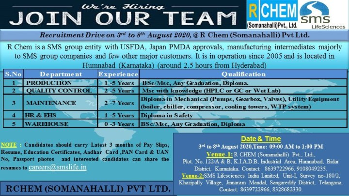 SMS Lifesciences Walk In 3rd to 8th Aug 2020 for Production QC HR And Freshers And Experienced