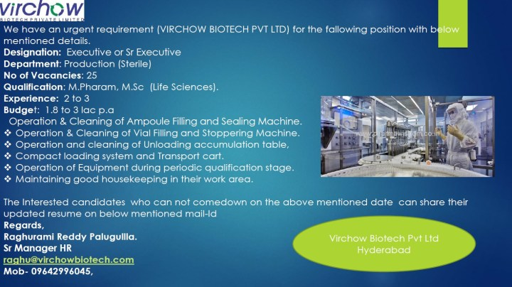 Virchow BioTech Hiring M pharma M sc MBA for Production SCM Procurement Engineering R And D Urgent Openings