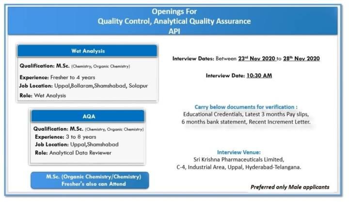 Sri Krishna Pharmaceuticals Walkin 23rd to 28th Nov 2020 for Production QA QC