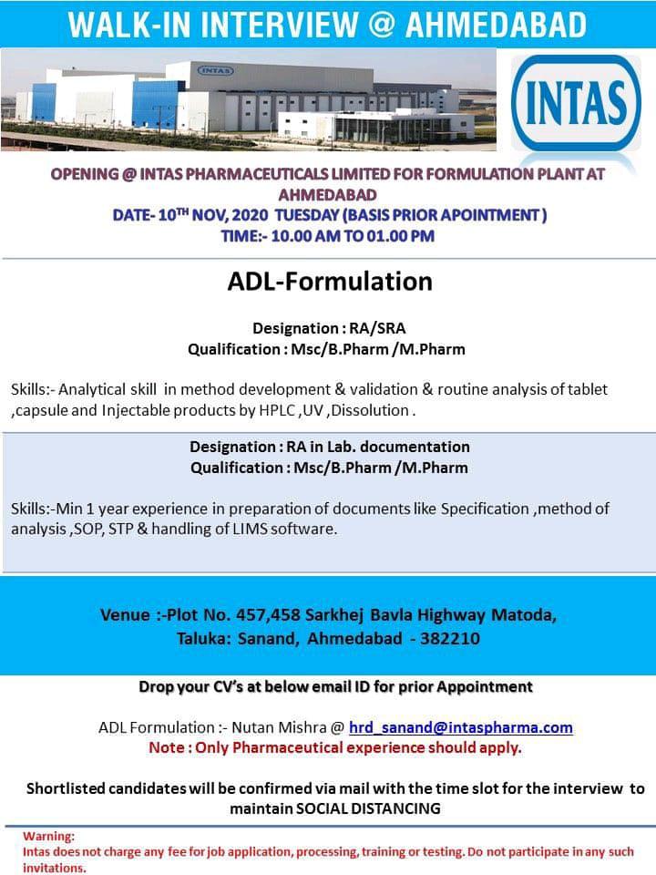 Intas Pharmaceuticals Walk In 10th Nov 2020 for ADL Formulation Solid Oral MFG