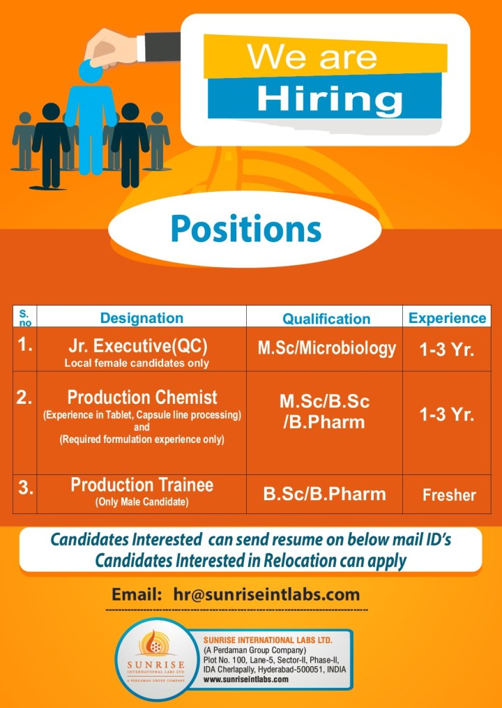 Sunrise International Labs Urgent Requirement Freshers and Experience for Production QC