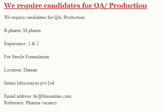 Indasi Lifescience PVT LTD Recruitment QA Production