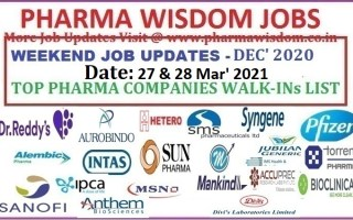 SUNDAY TOP PHARMA WALK-IN INTERVIEWS LIST – 27th & 28th Mar' 2021