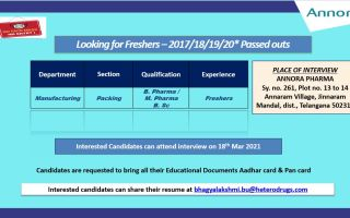Annora Pharma Limited – Walk-In Interviews for FRESHERS on 18th Mar' 2021