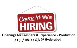 Multiple Openings for Freshers & Experienced in QA / QC / Production / AR&D – Formulation Plant @ Hyderabad