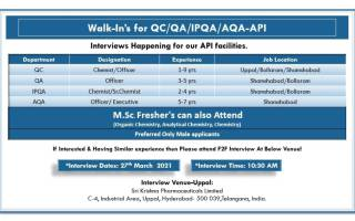 Sri Krishna Pharma – Walk-In Interviews for Freshers & Experienced in QC / QA / IPQA / AQA on 27th Mar' 2021