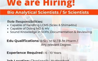 Vimta Labs Limited – Openings for Bio Analytical Scientist / Sr. Scientist / Medical Writer