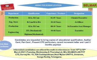 Walk-In Interviews for Production / Engineering / Eng. Store on 16th to 18th Mar' 2021 @ Selmar Lab Pvt. Ltd