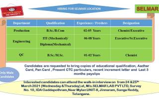 Selmar Lab Pvt. Ltd – Walk-In Interviews for Production / Engineering / QCon 24th & 25th Mar' 2021