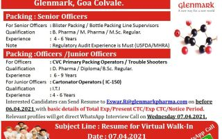 Glenmark Pharmaceuticals – Virtual Walk-In Interviews on 7th Apr' 2021 – Apply Now