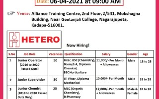 100+ Openings @ Hetero Labs – Recruitment Drive for Freshers on 6th Apr' 2021