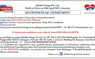 Maithri Drugs Pvt. Ltd – Walk-Ins for M.Sc / M.Pharm / B.Sc / B.Pharm – QC Department on 10th Apr' 2021